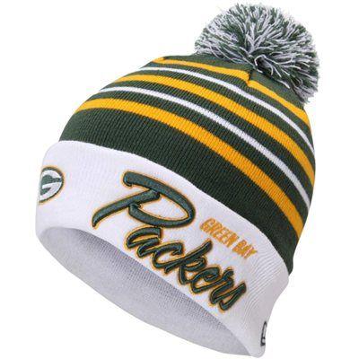 Green Bay Packers New Era Snowfall Stripe Knit Hat – Green/White