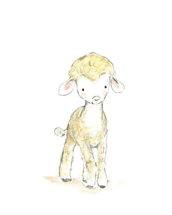 Hey, I found this really awesome Etsy listing at https://www.etsy.com/listing/178281160/childrens-art-lamb-archival-print