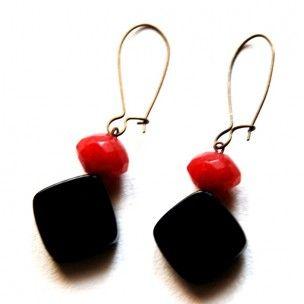 Pendientes de onix y rubi de Mercè Jo #art #handmade #earrings