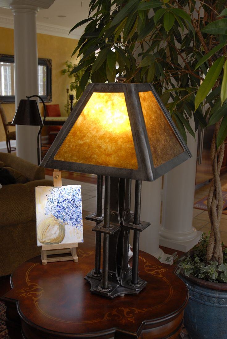 Custom made custom iron table lamp with mica shade lighting custom made custom iron table lamp with mica shade lighting pinterest iron table table lamps and irons geotapseo Gallery
