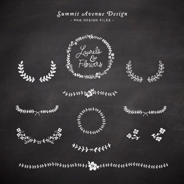 laurel and flowers | design elements