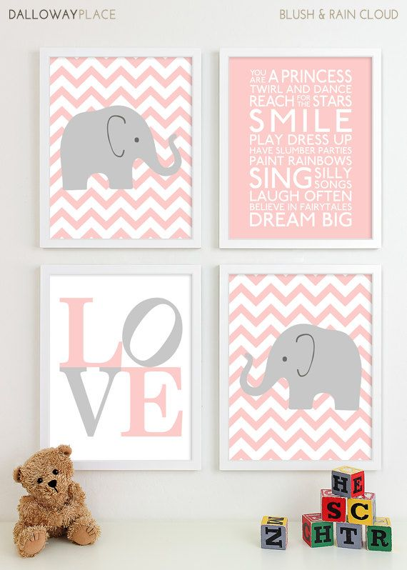 Baby Girl Nursery Art Chevron Elephant Nursery Prints, Kids Wall Art Baby Girls Room Baby Nursery Decor Playroom Rules Quote Art - Four 8x10. $50.00, via Etsy. - but in yellow?