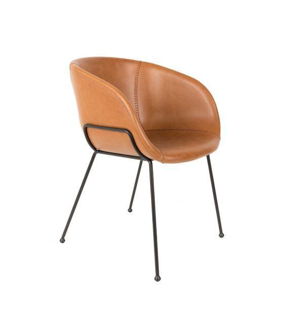 Chaise Cuir Design Feston Marron Zuiver Fauteuil Salle A Manger Fauteuil Bureau Design Chaise De Bureau Confortable
