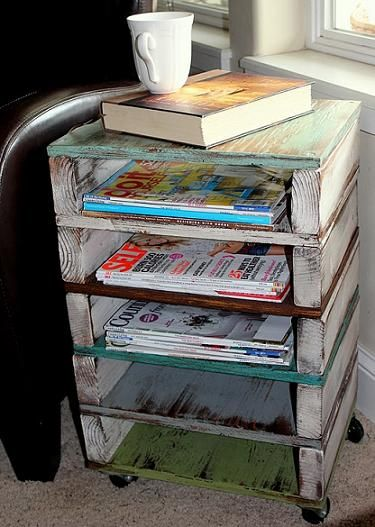 Pallet Magazine Rack / End Table. Great way to organize school supplies, art work, art supplies, homeschool books. Organization by days of the week. Endless possibilities here.