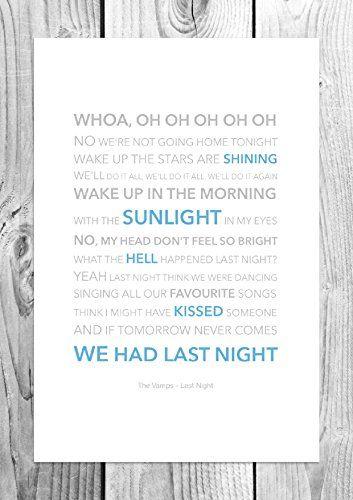 The Vamps - Last Night - Funky Lyric Art Print - A4 Size