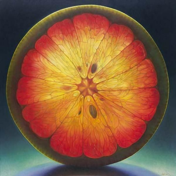 Ohio artist, Dennis Wojtkiewicz [voyt-KEV-itch] explores the sensitive nature of time in his oversized oil paintings of fruit and flowers. The transitory nature of his subject matter is encapsulated, transfixed and glorified with hightened photorealism. Light and translucence make these paintings glow. Nature's perfect patterning allows each painting to take on a meditative quality.
