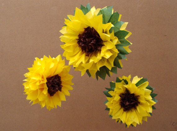 Tissue Paper Pom Pom / Sunflowers -  Perfect Decorations for  July 4th , Summer Wedding, Birthday Party & Baby Shower on Etsy, $12.50