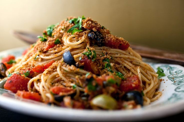 Pasta With Tomatoes, Capers, Olives and Breadcrumbs: View this and hundreds of other vegetarian recipes in the @nytimes Eat Well Recipe Finder.