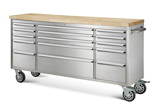 """72"""" Wide 15 Drawer Stainless Steel Anti-Fingerprint Tool Chest with Work Station"""