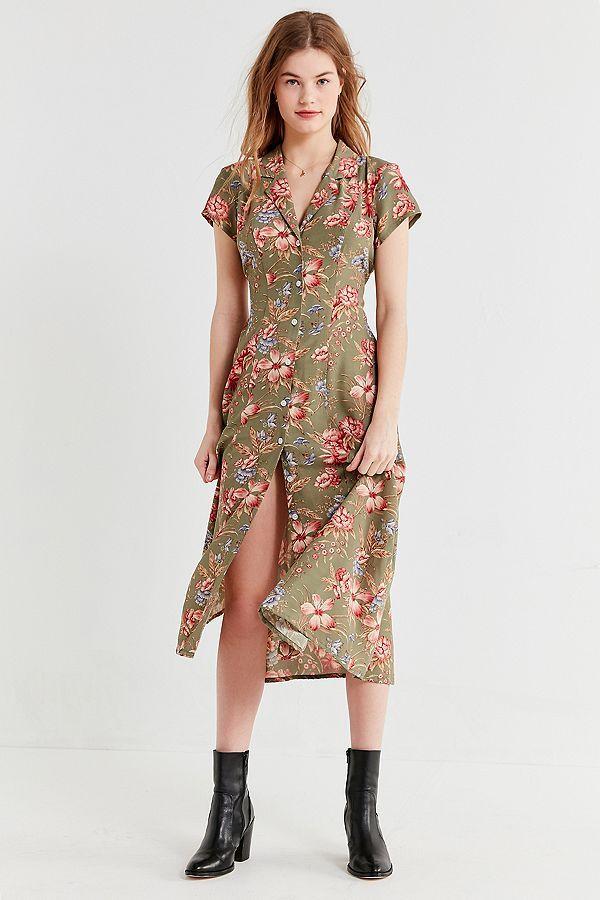 5864e856df4e Urban Renewal Remnants Floral Button-Down Midi Dress