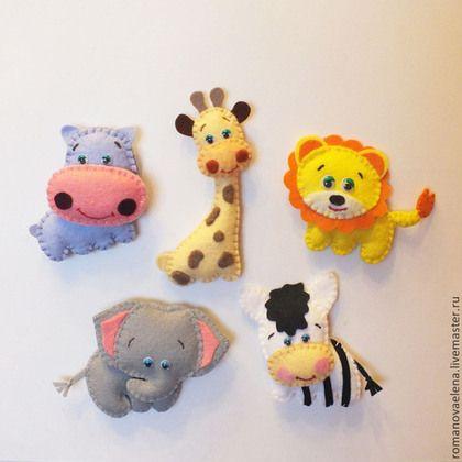 """Игрушки животные, ручной работы. Ярмарка Мастеров - ручная работа. Купить Набор игрушек из фетра """"Африка"""". Handmade. Разноцветный, жираф"""