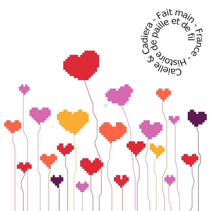 Grille gratuite point de croix coeurs fleurs roses - Broderie traditionnelle grille gratuite ...