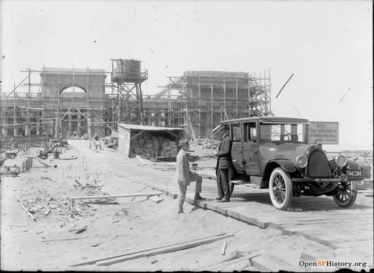 Legion of Honor Construction with car circa 1923. Courtesy of OpenSFHistory.org.          Photo: Courtesy Of OpenSFHistory.org