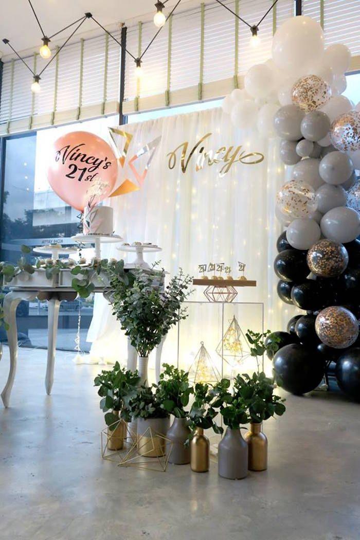 Modern Geometric 21st Birthday Party Kara S Party Ideas Birthday Party 21 21st Birthday Table Decorations 21 Birthday Party Decorations