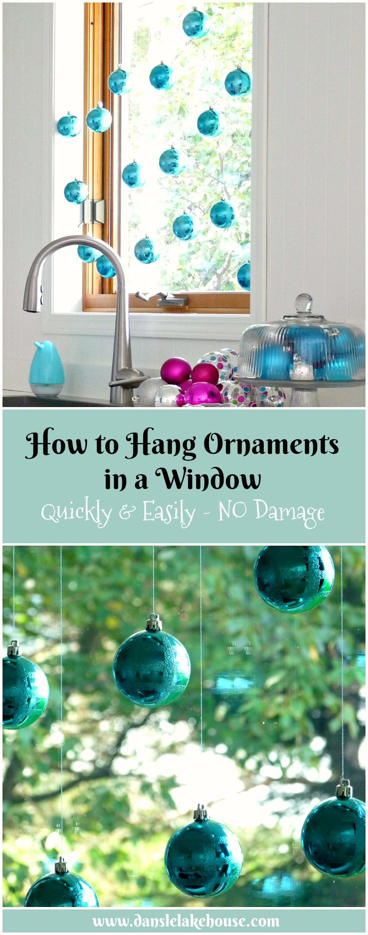 How to Hang Christmas Ornaments in a Window without Causing Any Damage // Click Through for More Great Ways to Display Ornaments Around the House