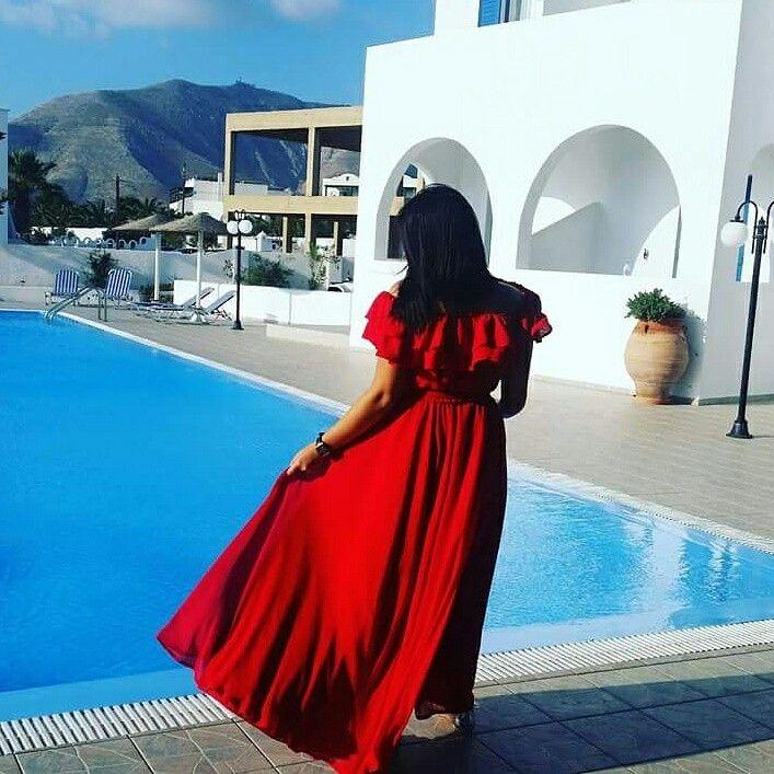 Inez -Czerwona sukienka w stylu maxi, hiszpanka Red maxi dress