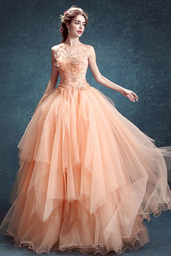 Peach Ruffled Wedding Dress Ball Gown