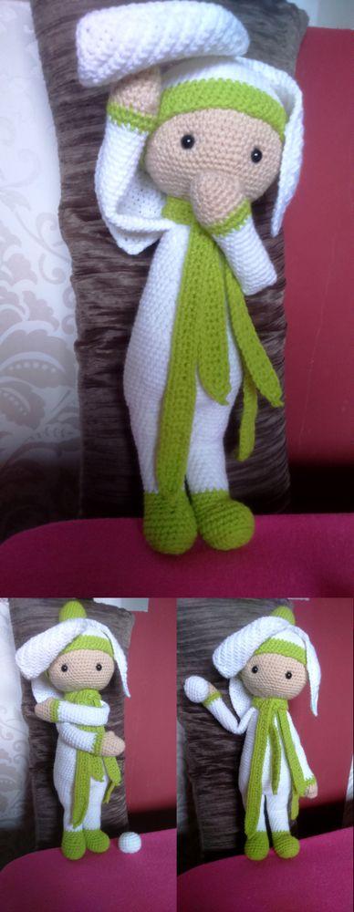Snowdrop Sia flower doll made by Renata O - crochet pattern by Zabbez