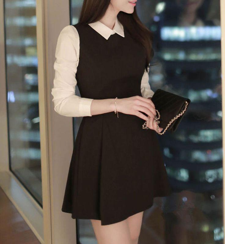 3/4-Sleeve Mock Two-piece Collared Dress #dress #collareddress
