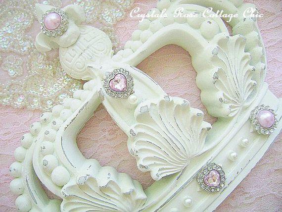 Shabby chic crown wall decor fleur de lis distressed french ivory gir