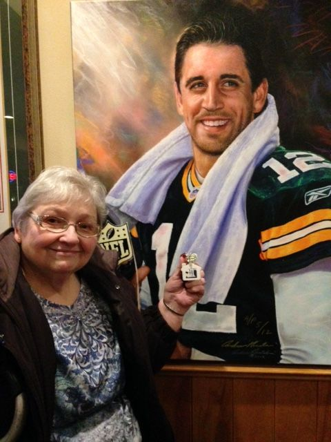 Kay and her key chain spotted Aaron Rodgers at Schwefel's Restaurant in Oconomowoc, WI!
