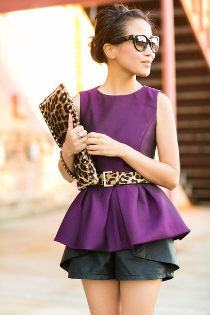 Leopard print accessories add an expected twist to a classic chic outfit. Wendy of Wendy's Lookbook in the Simona jacquard top.