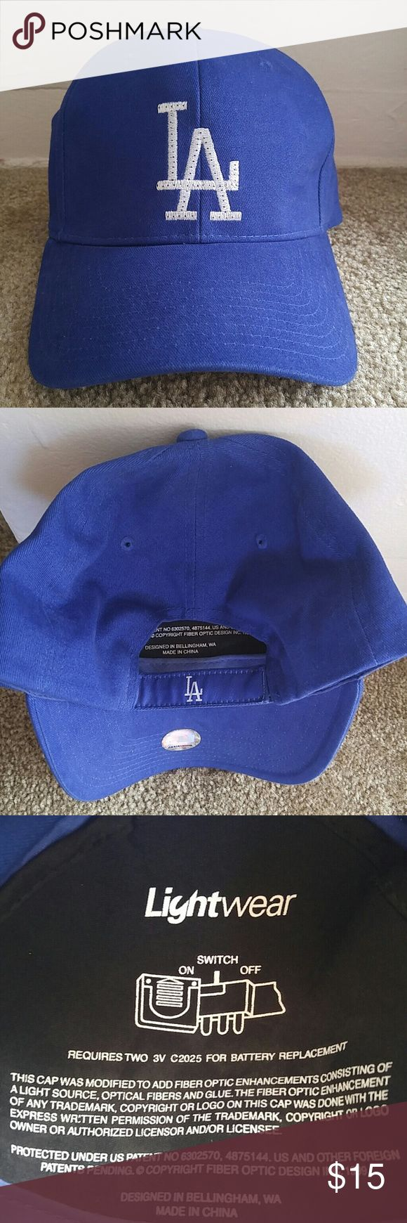 Dodgers Light Up Cap Los Angeles Dodgers flashing fiber optic blinking cap. (batteries included) Maybe worn twice. Some discoloration inside brim (see last photo). Stored in a closet. Smoke/pet free home. mlb Accessories Hats