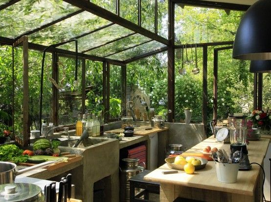Greenhouse Kitchen : What I would do for this!!!     Kitchen: Big windows, eclectic tiles and pots and pans        Earthship kitchen:  Oka...