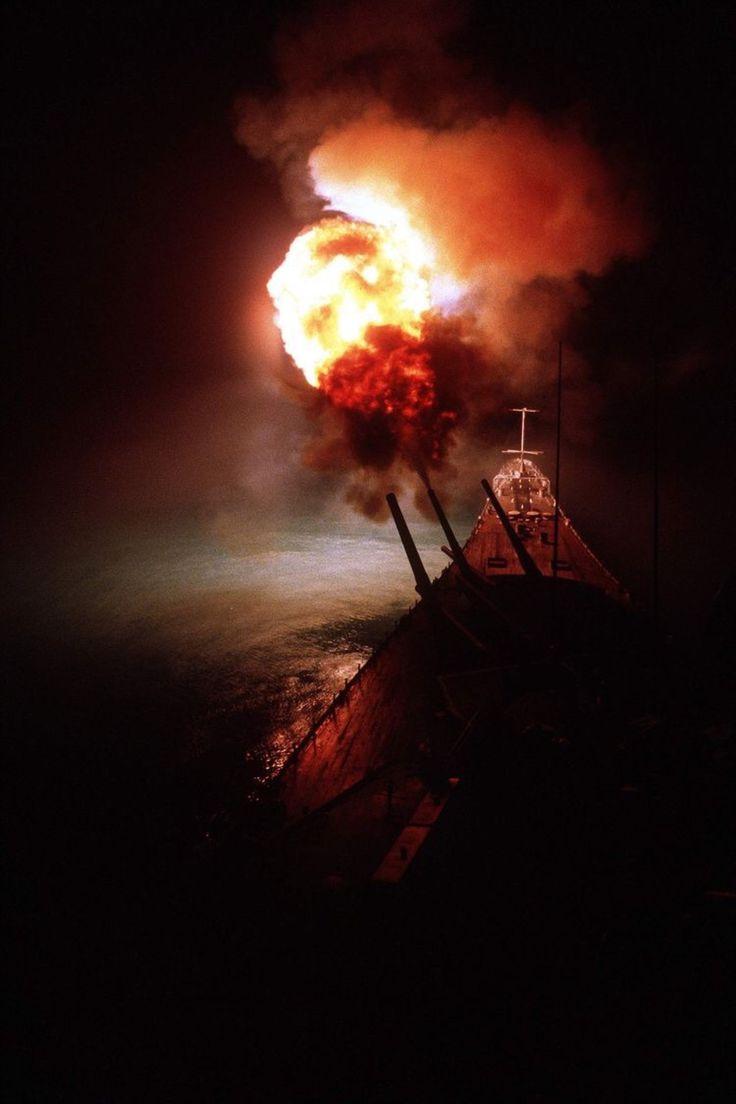 16-inch guns of the battleship USS Missouri firing at Iraqi positions during the Persian Gulf War on the night of 6 February 1991. U.S. Navy Photo