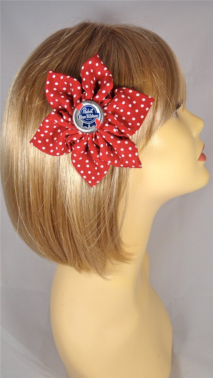 PBR Pabst Bottle Cap Red Polka Dot Pinup Rockabilly Hair Flower. $15.00, via Etsy.