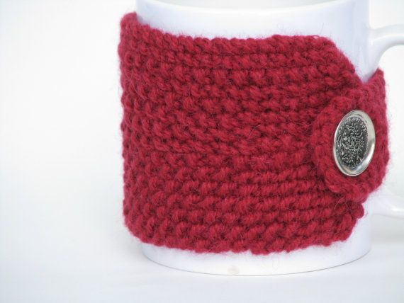 Cup Cozy Cup Warmer Knitted Red Metal Button by AGirlNamedMariaDK on Etsy #cup #cups #mug #mugs #warmer #warmers #cozy #cozies #coffee #tea #cocoa #hot #drink #drinks #etsy #agirlnamedmariadk #tableware #danish #denmark #design #scandinavia #scandinavian #knitted #knit #knitting #red #cranberry #scarlet #seed #stitch #button #buttons #wool #metal #military #stamped #alpaca
