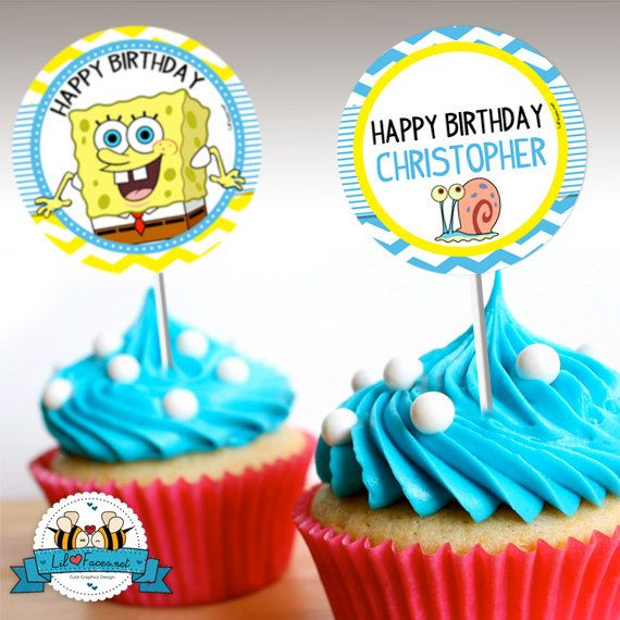 "INSTANT DOWNLOAD - Editable SpongeBob Squarepants Birthday Party - Cupcake Topper - 2"" party circle- Personalized with name"