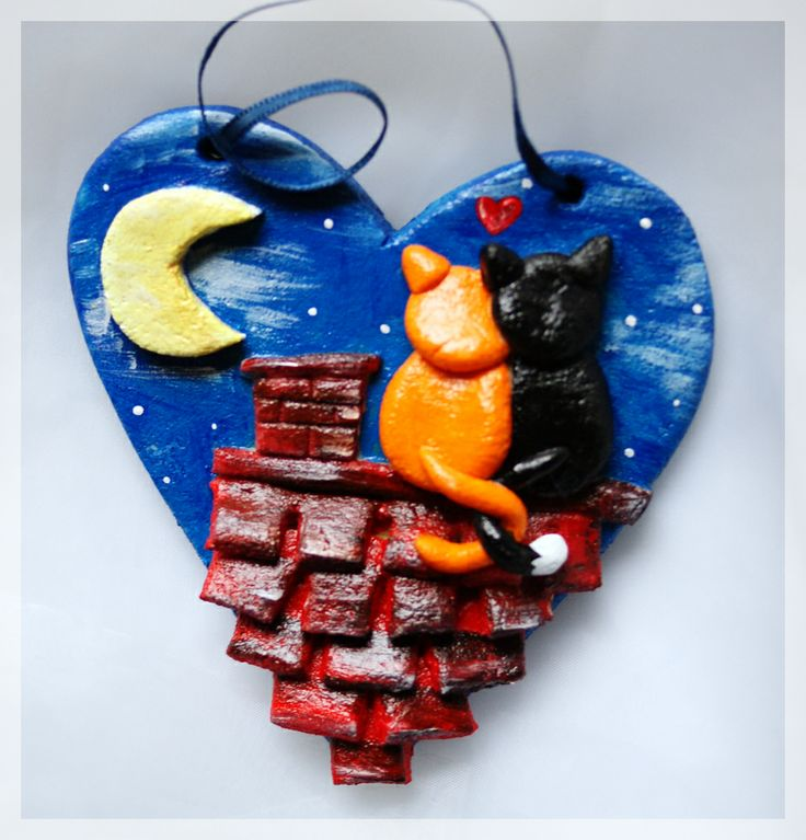 Salt Dough ornament with layers and cute cats on a roof