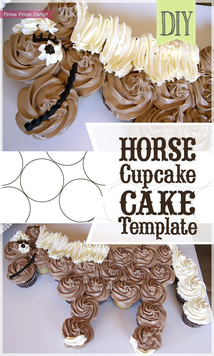 Horse Cupcake Cake Template - Unicorn cupcake cake - horse birthday cake - by Press Print Party! How to make a Horse cake, unicorn cake, tutorial, easy, western birthday, DIY, for girls, for boys. Cowgirl cake, cowboy cake. Kids Birthday Party Themes and Ideas #caketutorial #themedcakes