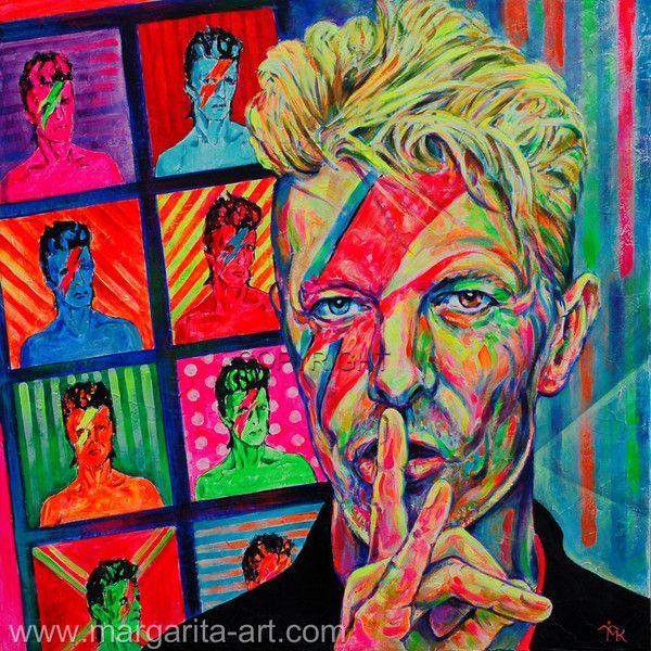 Gemälde David Bowie Porträt Margarita Kriebitzsch von Art & Design aus Hamburg auf DaWanda.com #DavidBowie #Lazarus #BlackStar #Music #Singer #Star #Portrait #PopArt