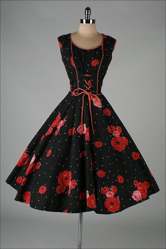 1950s dress . black coreset rhinestone cotton #Repin
