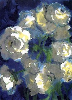 White Blossoms- Emil Nolde (7 de agosto de 1867, Ducado de Schleswig - 13 de abril de 1956, Neukirchen, Alemania)   Períodos: Expresionismo Alemán, Arte moderno. Emil Nolde fue uno de los más destacados pintores expresionistas alemanes. Su verdadero nombre era Hans Emil Hansen. Estuvo muy influido por Vincent van Gogh, Edvard Munch, y James Ensor