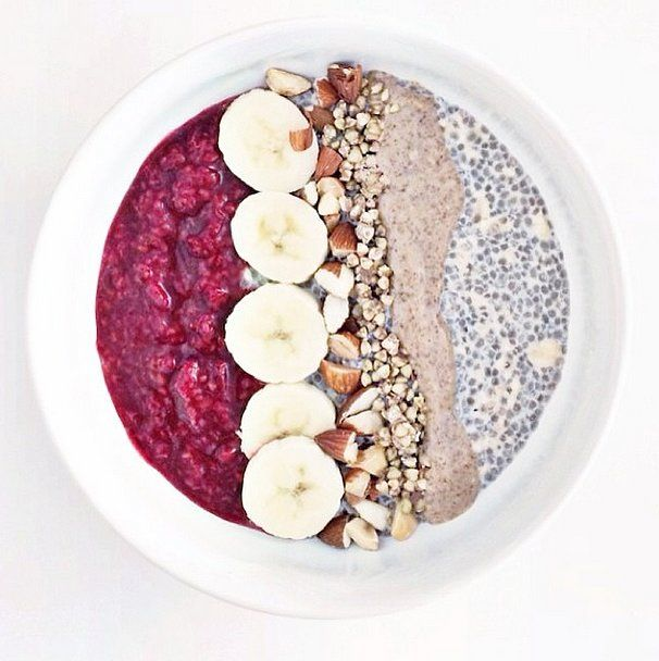 Instead of stacking your layers on top of each other, place your pudding with oats and jam side by side in a bowl and top with bites of nuts...