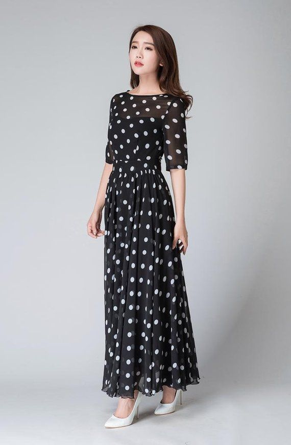 5a52ef6947ff6 Polka dot maxi dress, Womens prom dresses, vintage dress, summer dress,  Black And White Polka Dot Dress, Party Dress for Ladies 1534 in 2019 | suit  ...