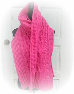 The 'Leap Year' Wrap is named for its 366 Rows. It is a very generous size and designed for the wearer to feel wrapped in 'woolly love' during very cold weather. It makes a perfect layer over any outer garment and may be worn as a Super Sized Scarf, a Wrap, or a Cowl if making the use of an appropriate scarf pin or shawl stick.