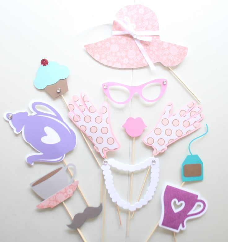 12pc * Tea Party Photo Booth Props/Princess Party/Photobooth Props