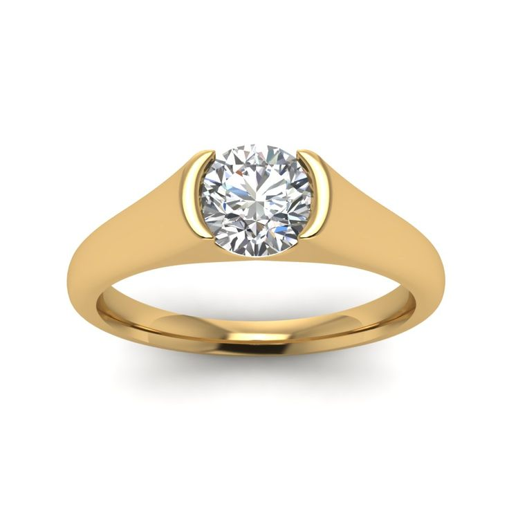 Semi Bezel Set Round Cut diamond Solitaire Engagement Rings in 14K Yellow Gold exclusively styled by Fascinating Diamonds