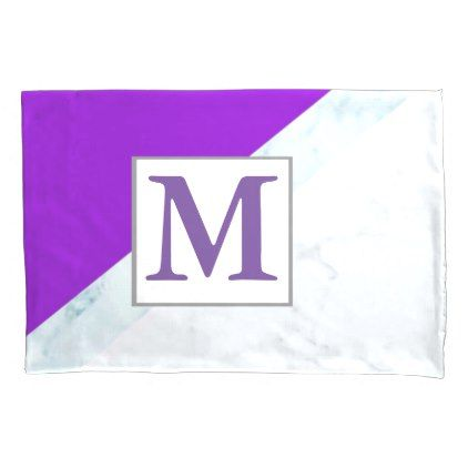 Purple With White Marble Monogram Pillowcase - marble gifts style stylish nature unique personalize