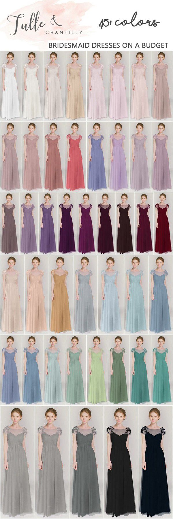 affordable long bridesmaid dresses from tulle and chantilly