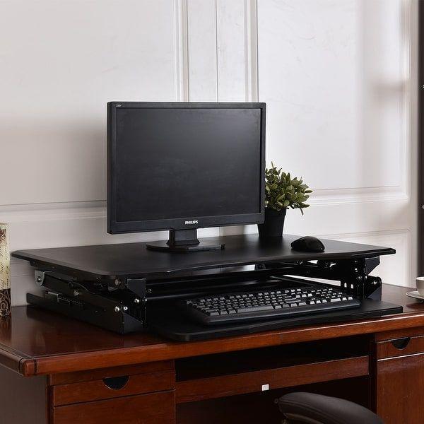 Costway Height Adjustable Computer Desk Sit/Stand Desktop Workstation Home Office Black