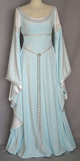 Medieval style gown in light blue velvet and bright grey satin with silver details. Gorgeous, I'd like to marry in a gown like that.