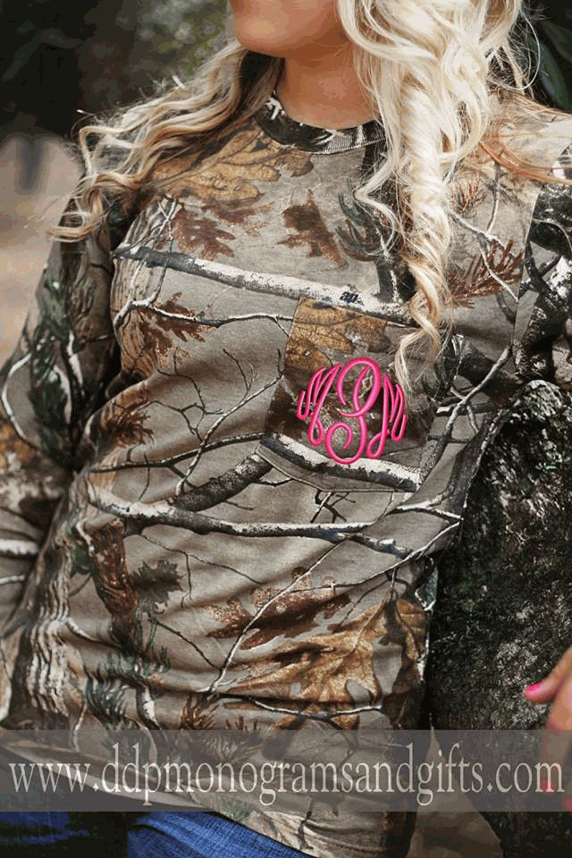 MONOGRAMMED REAL TREE CAMO POCKET TEE