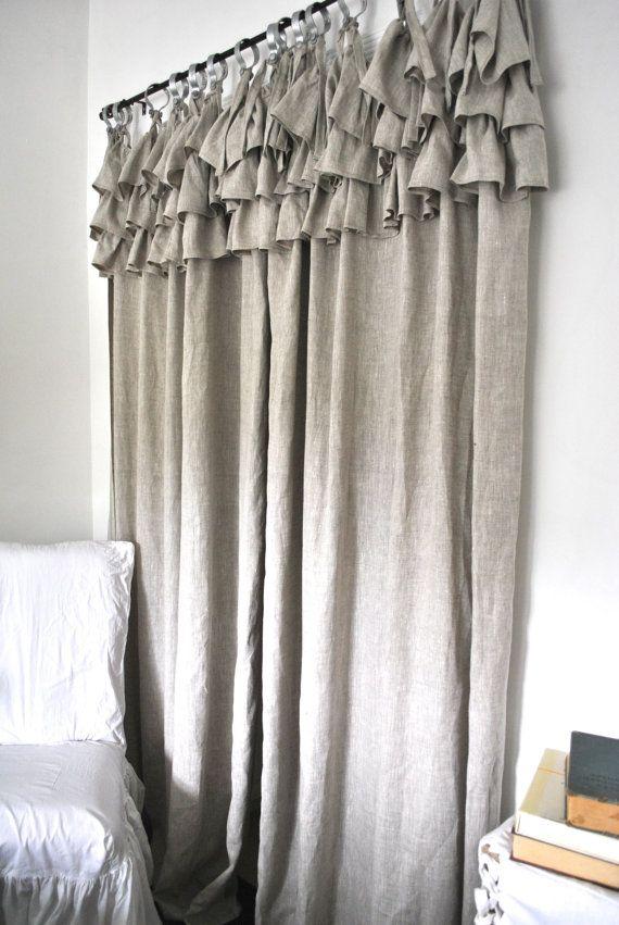 Ruffle Top Linen Curtain