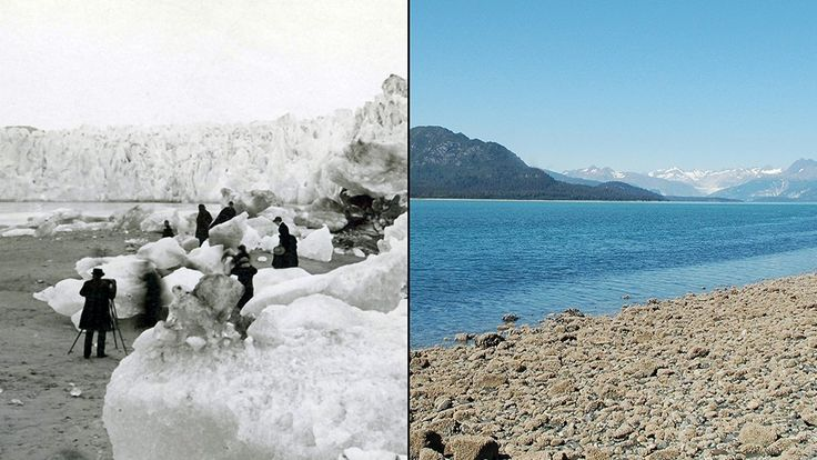 A Muir-gleccser olvadása  Alaszkában. Az első képet G.D. Hazard készítette 1882-ben, a mellette lévőt Bruce F. Molnia 2005-ben.