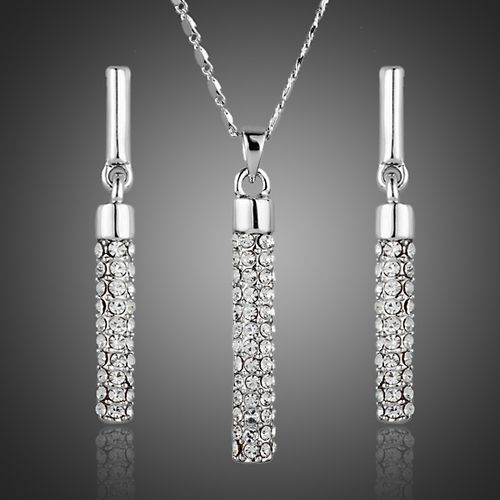 Elegant Austrian Crystals Paved Drop Earrings and Pendant Necklace Sets